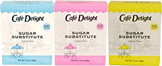 Café Delight Zero Calorie Sweetener Packets, Sugar Substitute, Sugar Alternative, Yellow With Sucralose, Blue With Aspartame, Pink With Saccharin, 100Count (Pack Of 3)