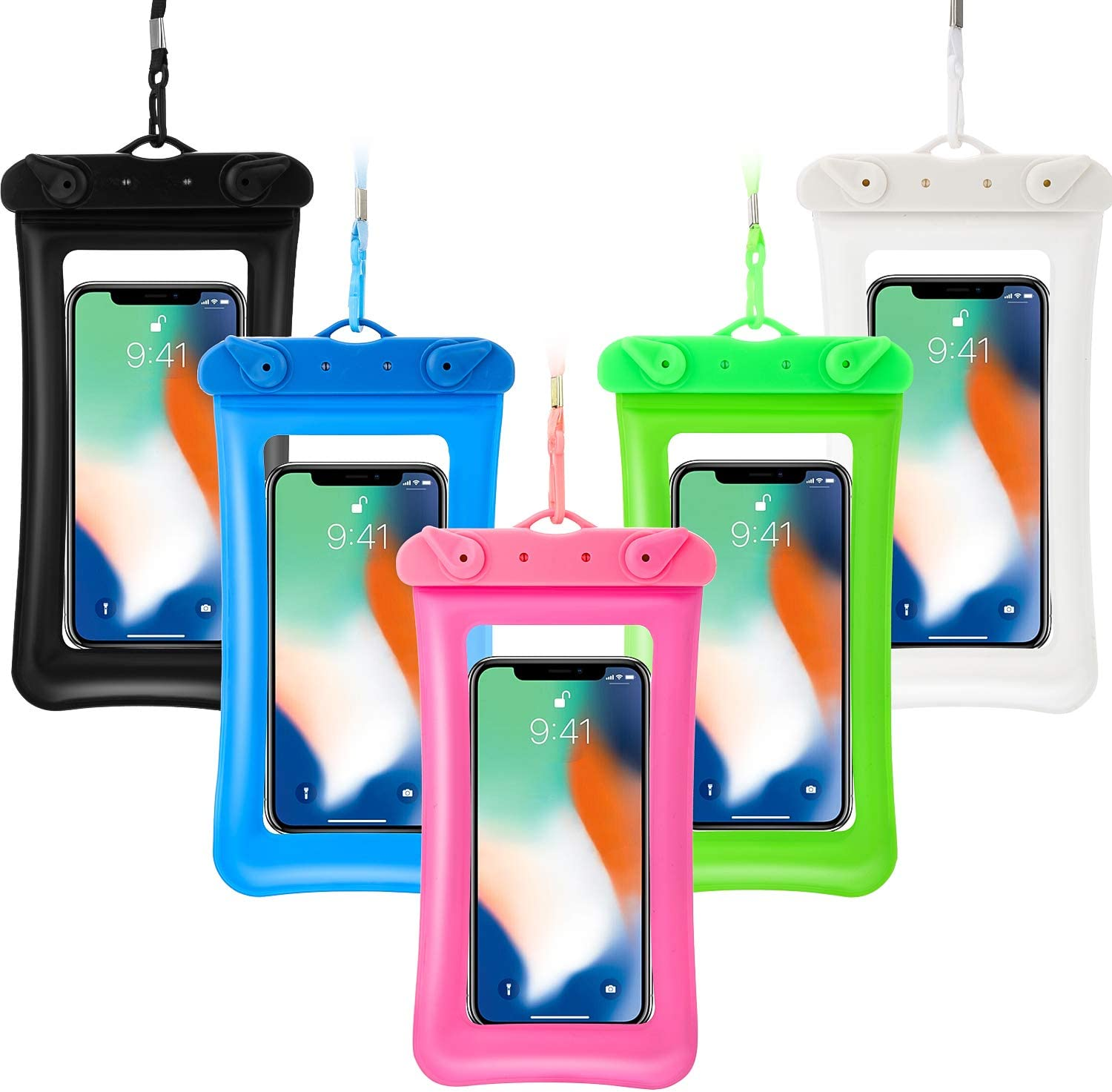 5 Pieces Floating Waterproof Phone Pouch Floatable Waterproof Case Universal Cellphone Dry Bag with Lanyard Beach Underwater Pouch for Smartphone up to 6.5 Inch (Green, Rose Red, Blue, Black, White)