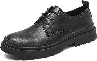 Zapatos casuales Zapatos de Oxford de los hombres, grifo cepillado de cepillado anti-colisión de cuero, tacón redondo tacó...
