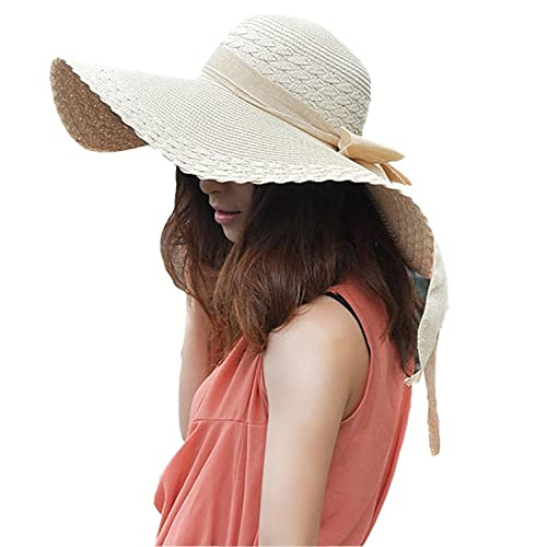 Women s Large Wide Brim Floppy Straw Hat Summer Beach Sun Hat w  Bow Ribbon cca825c3d69f