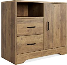 HOMECHO Storage Cabinet, Wide Dresser with 2 Drawers Chest and 1 Side Cabinet, Modern Nightstand End Table, 1 Adjustable S...