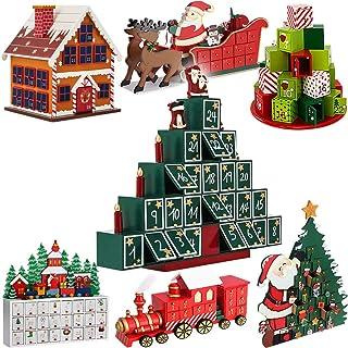 Deuba Calendario de Adviento de Madera Piramide con Velas y papá Noel 24 cajoncitos con pomo Adorno personalización