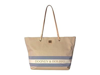 Dooney & Bourke Kittery Large Addison (Beige/Navy/Natural Trim) Handbags