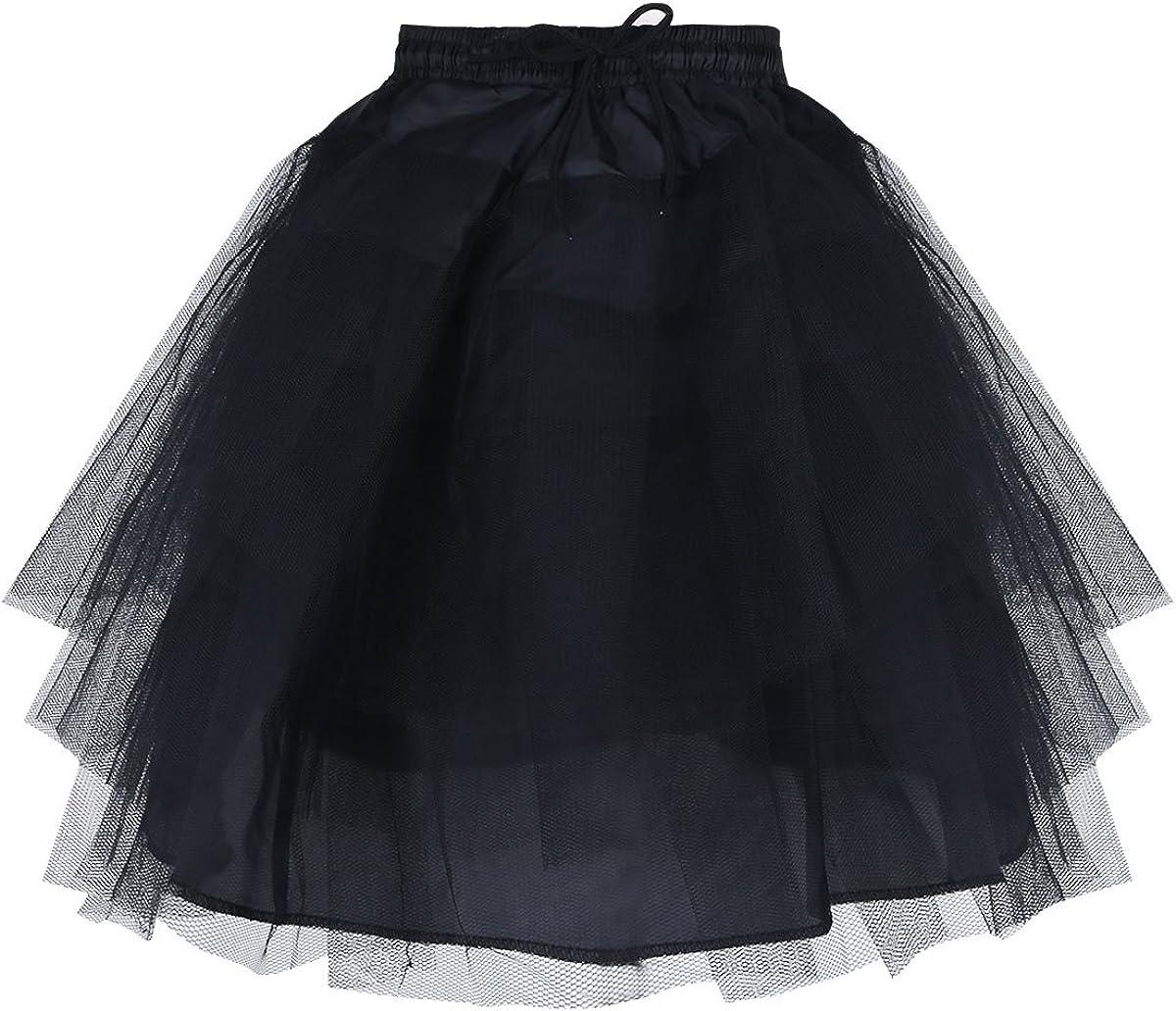 YONGHS Kids Hoopless Petticoat Crinoline Slip with 3 Layers Net Flower Girls Dress Wedding Pageant Tutu Underskirt