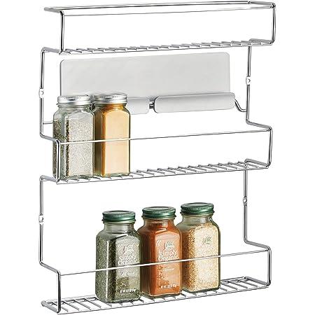 mDesign rangement épices à coller – range épices en métal avec trois niveaux – porte épices pratique et sans perçage – argent