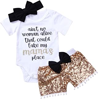 3Pcs/Set Newborn Infant Baby Girl Mother's Day Outfit Romper Bodysuit+Sequins Shorts with Pompom+Headband