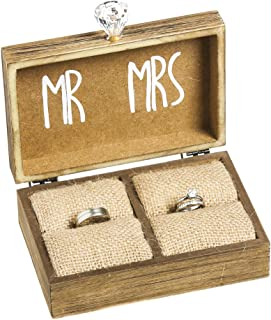 """Cypress Home Wedding Decor """"and Then Two Become One"""" Mr. and Mrs. Wooden Ring Holder Decorative Box - 5""""W x 6""""D x 2""""H Eleg..."""