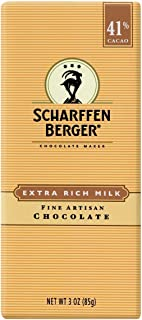 SCHARFEEN BERGER Artisan Chocolate Bars, Extra Rich Milk, 3 Ounce (Pack of 6)