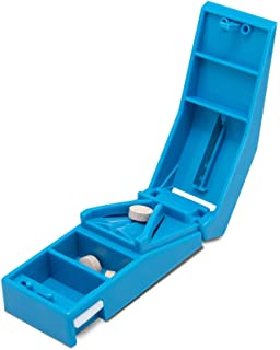Dukal Pill Cutter Splitter. Blue Vitamin Cutter. Opaque Medication Divider with Tablets Container. Stainless Steel Blade f...