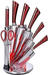 Royalty Line KSS804 - Set da 5 coltelli in Acciaio Inox con Supporto in Acrilico, affilatore e Forbici