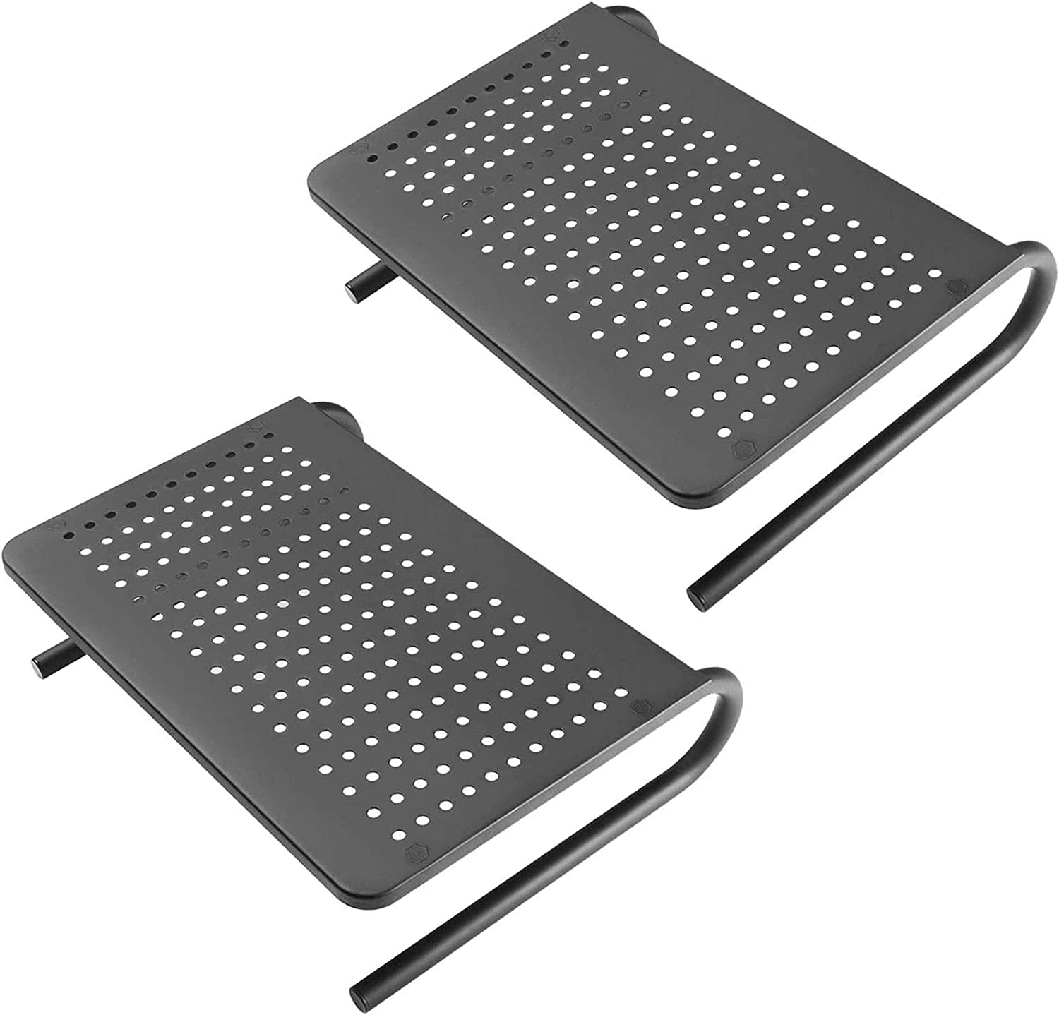 HUANUO Monitor Stand Riser with Vented Metal for Computer, Laptop, Desk, Printer with 14.5 Platform 4 inch Height (Black, 2 Pack)