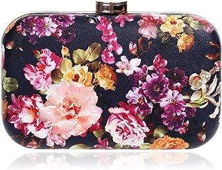 DIEBELLAU Women's Retro Flower Evening Bag Fashion Exquisite PU Lady Bag Gorgeous Dress Evening Bag (Color : Black, Size : XS)