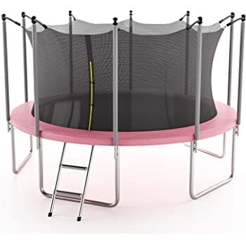 AOTOB 15 FT Trampoline for Kids with Safety Enclosure Net,Ladder Trampoline for Kids,Spring Pad, Ladder, Combo Bounce Jump Trampoline, Pink Outdoor Trampoline for Kids, Adults