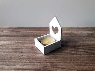 Pack de tres portavelas blancos con forma de casita de estilo nórdico - Incluye tres velas