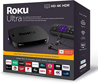 Newest Roku Ultra Streaming Media Player 4K/HD/HDR Bundle - Enhanced Voice Remote W/TV Controls and Shortcuts - Premium JBL Headphones - HDMI, Ethernet, and Micro SD Ports - iPuzzle HDMI Cable 3ft