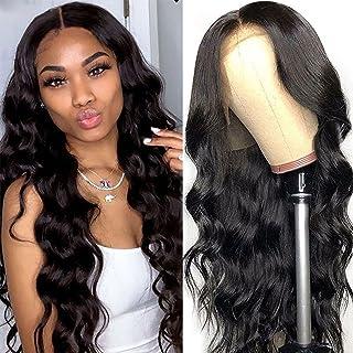 شعر مستعار طبيعي برازيلي مموج 13 × 4 مصفف مسبقاً بكثافة 150% مع رباط امامي وشعيرات صغيرة ولون طبيعي بطول 20 انش