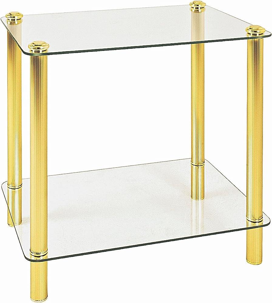 Haku möbel, tavolino con struttura in  ottone cromato,e ripiani in vetro