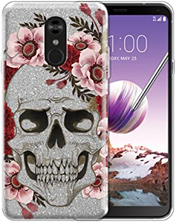 WIRESTER Case Compatible with LG Stylo 4, Shiny Sparkling Silver Bling Glitter TPU Protector Cover Case for LG Stylo 4 - Red Pink Skull Flowers