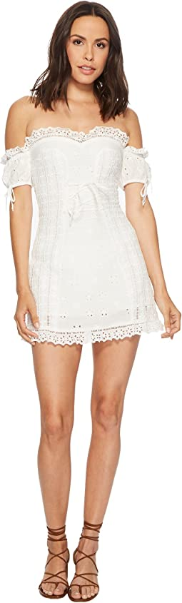 For Love and Lemons - Anabelle Eyelet Lace-Up Dress