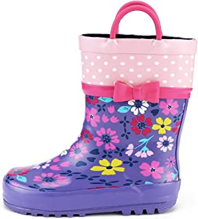 9214125b2154 KomForme Kids Girl Rain Boots, Waterproof Rubber Printed with Handles in  Various Prints and Different