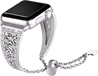Secbolt Bling Metal Bands Compatible with Apple Watch Band 38mm 40mm iwatch Series 5/4/3/2/1, Dressy Jewelry Diamond Cuff Bracelet Bangle Wristband Women, Silver