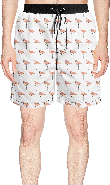 4b66e8298808f Juliuse Marthar Marthar Marthar Men's Pink Flamingo Gift White Swim Trunks  Quick Dry Shorts Board Shorts c6dc1d