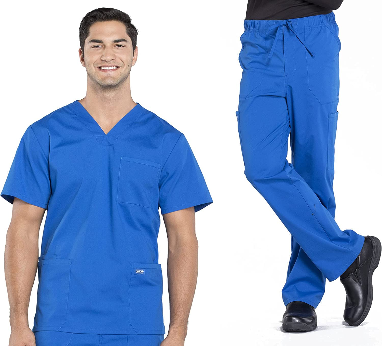 Workwear Professionals Men Scrubs Set V-Neck Top WW695 & Tapered Leg Drawstring Cargo Pant WW190