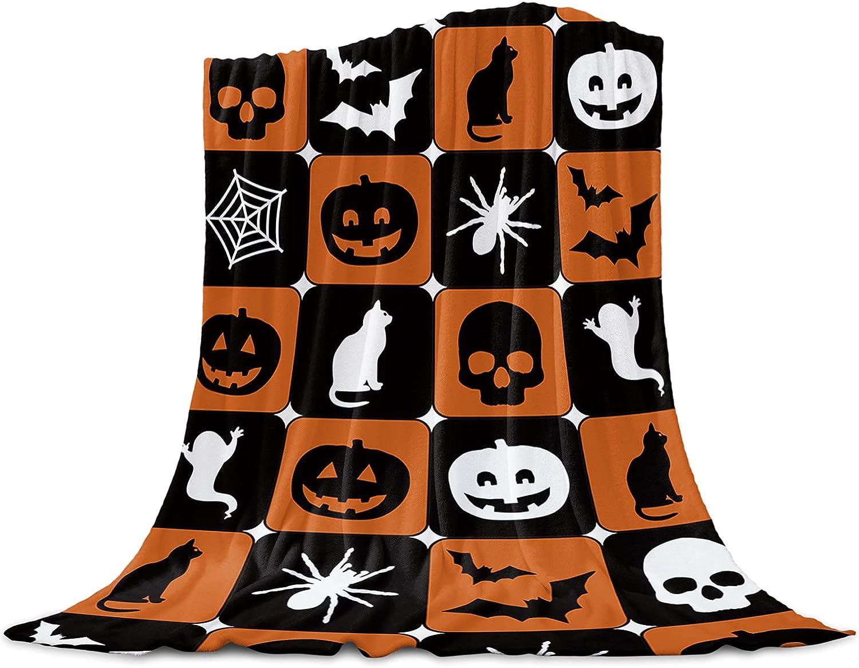 Halloween Flannel Fleece Throw Blanket Bat Skull Re Cat Easy-to-use Pumpkins Super sale period limited