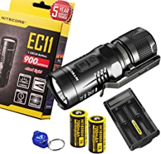 Nitecore EC11 900 Lumens Brightest Mini Cree XM-L2 U2 LED Flashlight with 2x Nitecore Rechargeable IMR 18350 batteries, UM20 charger, and a Lumen Tactical Keychain Light