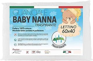 Baby Nanna - Cuna almohada para bebé de algodón, 100 % italiano, hipoalergénica, cojín antiasfixia ideal para cuna de bebé y cuna de bebé. Transpirable y antibacteriana, talla 40x60 cm