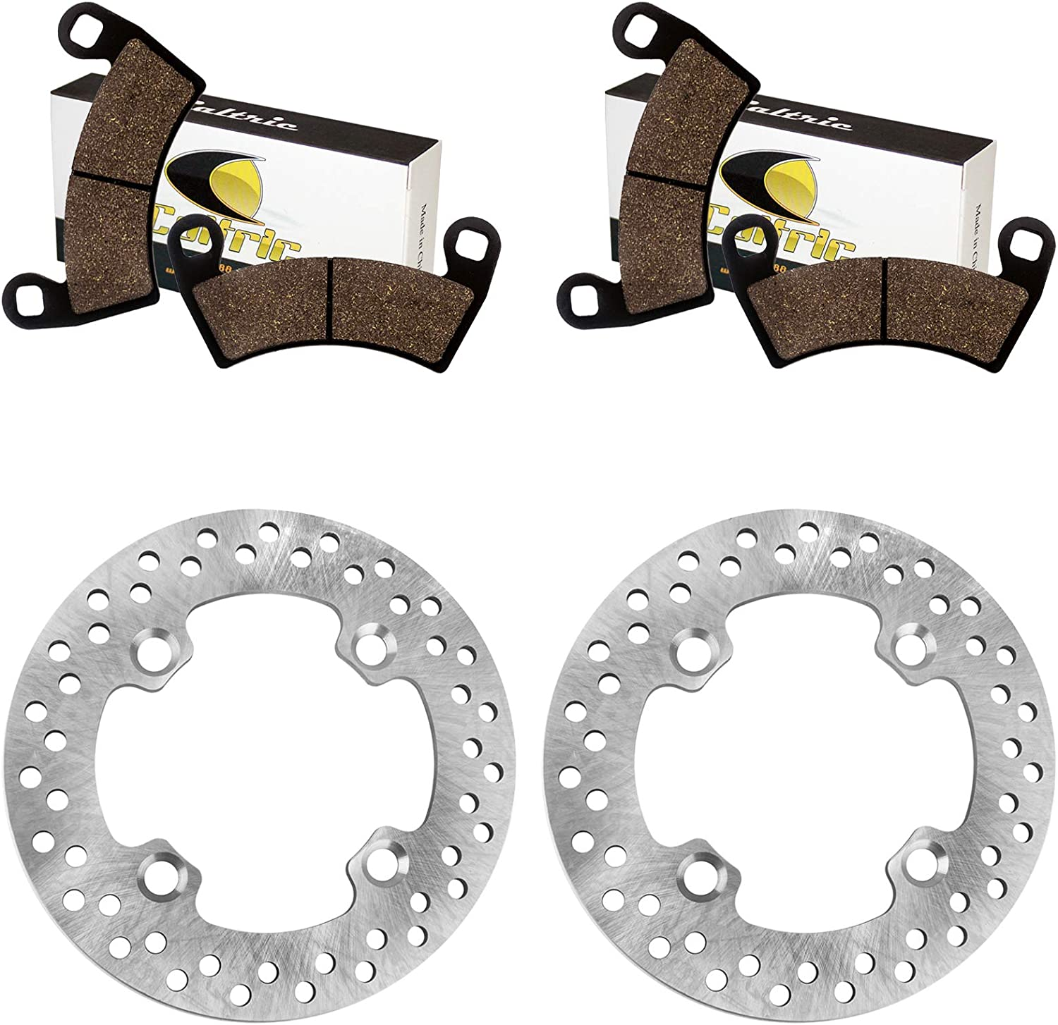 Caltric 2 Front Brake Disc Rotor specialty shop Compatible Polari with Pads And shipfree