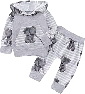 Baby Boy Girl Outfits Elephant Hooded Sweatshirt Tops+ Striped Pants 2PCS Clothes Set