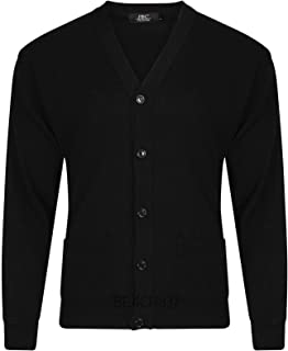 Beach837/JBC Mens Fine Knit Plain V Neck Buttoned Fashion Grandad Cardigan Top Size S to 5XL