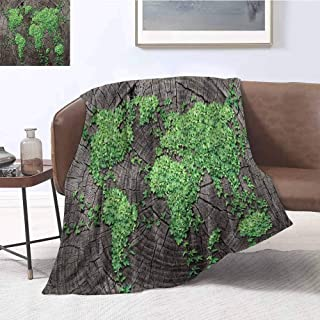 Luoiaax World Map Luxury Special Grade Blanket Map on Tree Trunk with Green Leaves Forest Fauna Natural Woodland Environment Multi-Purpose use for Sofas etc. W80 x L60 Inch Green Brown