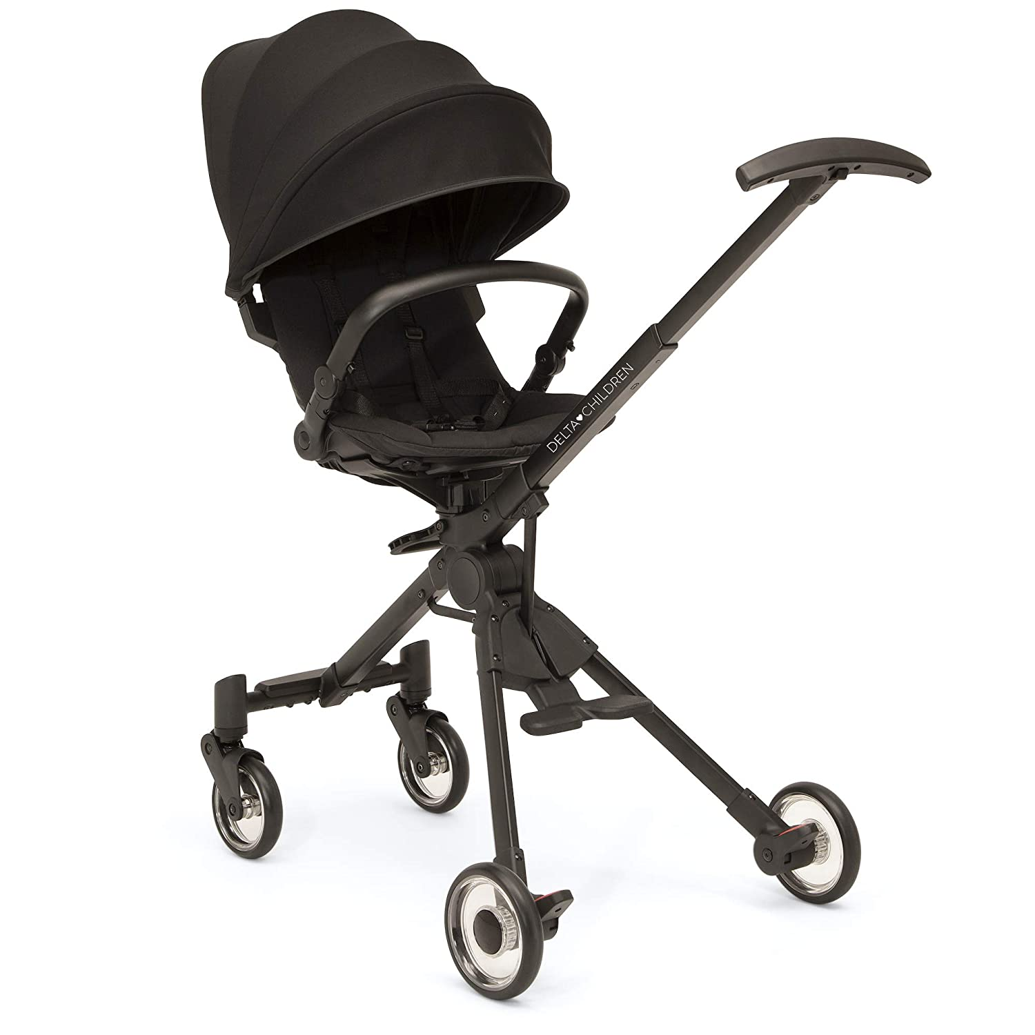 Delta Children Spyder Stroller - Lightweight/Compact Travel Stroller Features Extendable Canopy & Recline - Car Seat Adapter Included - Easy-Coast Puncture-Proof Wheels, Black