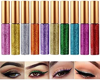 Glitter Liquid Eyeshadow Eyeliner 10 Colors Long Lasting Waterproof Highlighter Brighten Concealer Face Eye Cosmetic Glow Shimmer Makeup Pigments Cover Perfection Tip for women (10Pcs Style C)