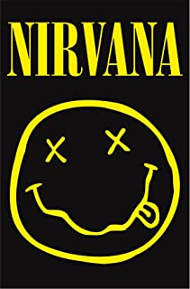 NIRVANA Smiley Face Tapestry Cloth Poster Flag Wall Banner 30