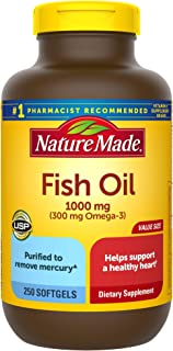 Nature Made Fish Oil 1000 mg Softgels, 250 Count Value Size for Heart Health (Packaging May Vary)