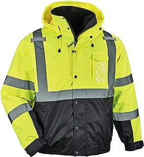 High Visibility Reflective Winter Bomber Jacket, Black Bottom, Zip Out Fleece Liner, ANSI Compliant, Ergodyne GloWear 8381