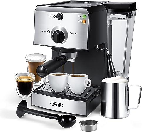 Gevi Espresso Machine 15 Bar Espresso Coffee Maker with Milk Frother Wand for Cappuccino, Latte, Mocha, Machiato, For Home Barista, 1.5L Water Tank, Classial, Sliver, 1050W