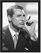 Doppelganger33 LTD Vintage Portrait Actor Cary Grant Smoking Large Framed Art Print Poster Wall Decor 18x24 inch Supplied Ready to Hang