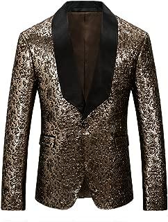Mens Slim Fit One Button Gold Blazer Jacket