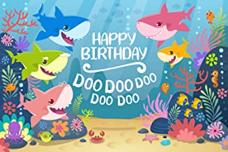 GYA Cartoon Cute Shark Happy Birthday Theme Backdrop for Photography Under The Sea Birthday Party Background Baby Shower Kids Party Newborn Child Family Portrait Studio Props th24-5x3FT