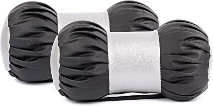 JMD Global Sales Dumbell Shape Car Neck Rest Pillow Cushion for All Cars (Pack of 2) (Black-Silver)