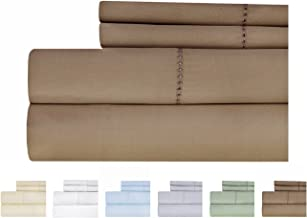 Weavely Hemstitch Bedsheet 500 Thread Count 100% Cotton Sheet Set, 4-Piece Bedding Set, Elastic Deep Pocket Fitted Sheet Twin Brown T500CTN-HEM-$P