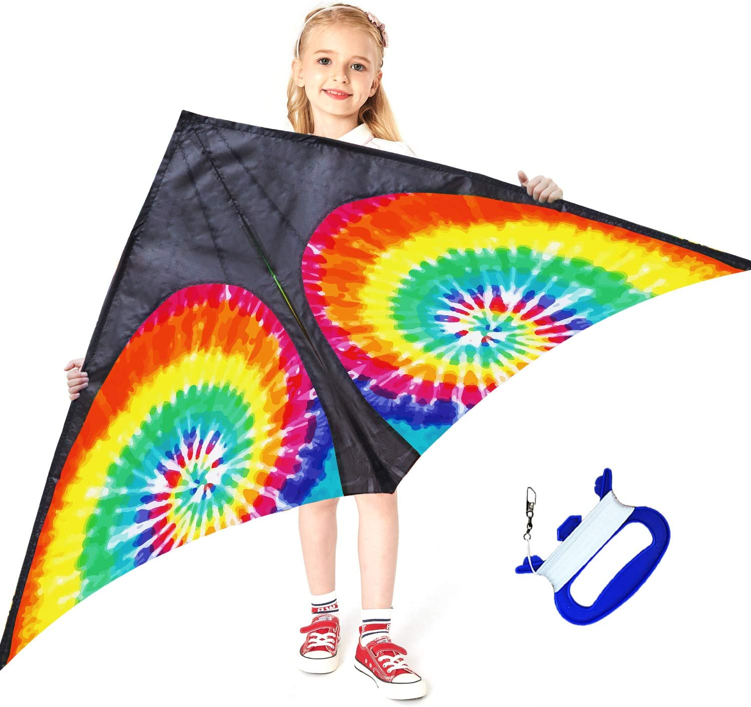 HONBO Rainbow Delta Kites Adults-Beginner kite for kids Easy Flyer Kit Line and Swivel Included Good for Outdoor Games and Summer The Beach Toys for Kids