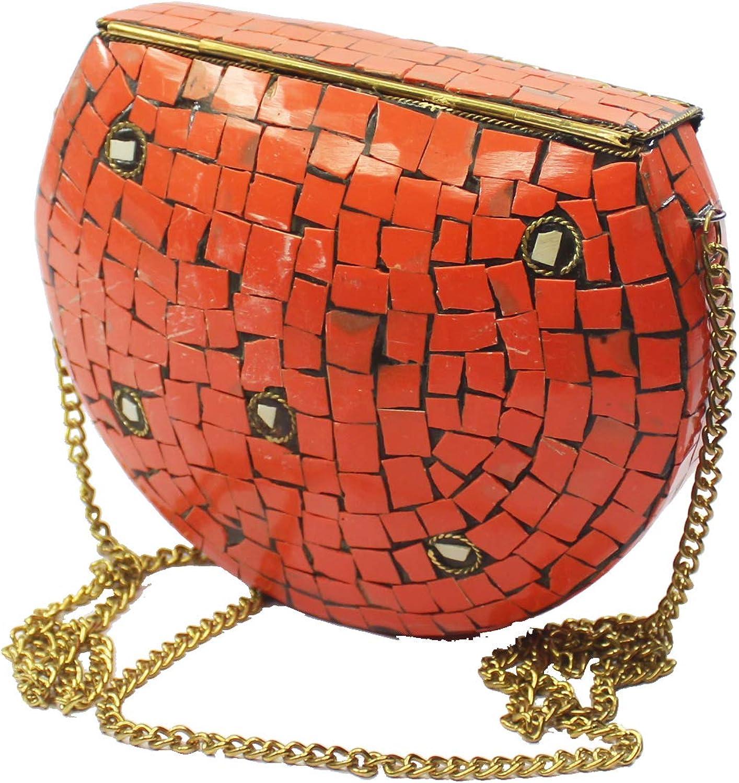 Women Antique Vintage Metal Mosaic Clutch Evening Bag Handcrafted Stone handbag Purse Made in India (Orange)