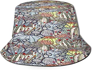 Fisherman Hat Cactus Cacti Southwestern Desert Succulent Print Bucket Hat Unisex 3D Printed Packable Bonnie Cap UV Protect Lightweight Sun Hat for Picnic Hunting Fishing Golf Hiking