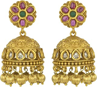 South Indian Traditional Jhumki Dangle Earrings Wedding Bollywood Fashion Jewelry for Women