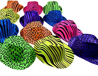 Novelty Place [Party Stars] Neon Color Animal Print Plastic Party Hats for Kids Teens and Adult (Pack of 12)